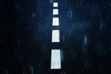 White dotted line on dark blue city asphalt road with binary numbers data background. - 219707946