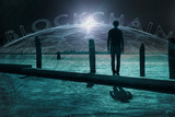 Back view of a man standing on pier and with futuristic blockchain network background. - 219708128