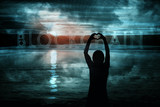 Silhouette of woman hands in heart shape with conceptual blockchain cyberspace background. - 219708194