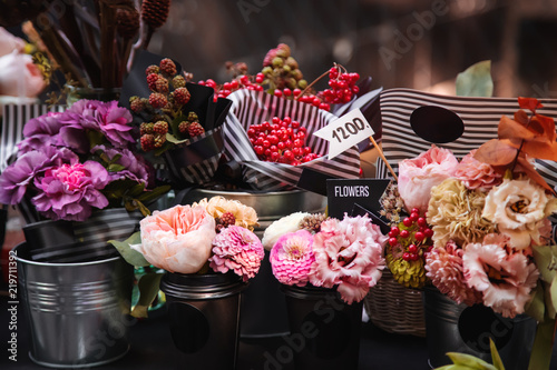 Sticker Vintage flower store. Bouquets for sale outdoor in sunny day