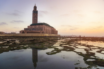 view of Hassan II mosque at sunset - Casablanca - Morocco