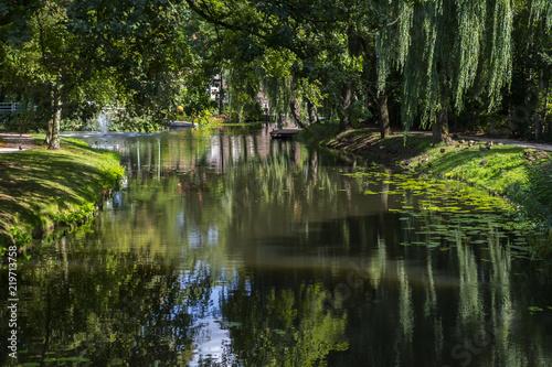 Leinwanddruck Bild Die Berkel in Borculo, Niederlande