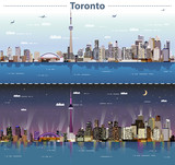 vector abstract illustration of Toronto at day and night - 219715917