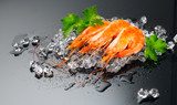 Shrimps. Fresh prawns on a black background. Seafood on crashed ice with herbs. Healthy food, cooking - 219716310
