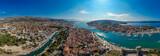 Aerial panorama of Trogir in summer