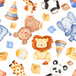 Watercolor pattern with cute animals and toys. Illustration with giraffe, panda, elephant, bear, lion for children's birthday, invitations, postcards, baby shower card. - 219722943