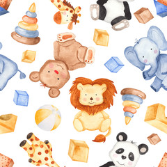 Watercolor pattern with cute animals and toys. Illustration with giraffe, panda, elephant, bear, lion for children's birthday, invitations, postcards, baby shower card.