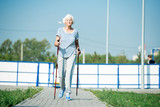 Full length portrait of active senior woman practicing Nordic walking with poles outdoors in park, copy space