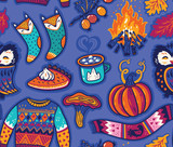 Seamless autumn pattern with pumpkin, jumper and coffee. Hugge season. Vector illustration