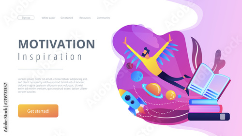 Open book, user flying in space among planets. Motivation and inspiration landing page. Creative thinking, imagination and vision, fantasy and ideas concept, violet palette. Vector illustration.