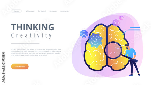 Human brain with gears thinking and user with magnifier. Thinking and creativity concept landing page. Brainstorming, creativity and business ideas, invention, violet palette. Vector illustration.