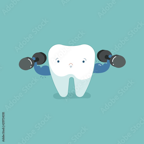 Sensitive tooth with ice, dental concept.