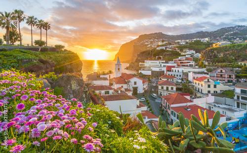 Leinwandbild Motiv Camara de Lobos village at sunset, Cabo Girao in background, Madeira island, Portugal