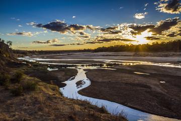 Sunset in Olifant river landscape in Kruger National park, South Africa