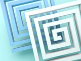 Abstract square spirals over blue green - 219745701