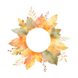 Watercolor autumn vector hand painting card with leaves and branches isolated on white background. - 219747123