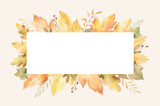 Watercolor autumn banner with leaves and branches isolated on white background. - 219747161