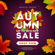 Autumn Sale Design with Falling Leaves and Lettering on Purple Background. Autumnal Vector Illustration with Special Offer Typography Elements for Coupon, Voucher, Banner, Flyer, Promotional Poster or