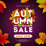 Autumn Sale Design with Falling Leaves and Lettering on Purple Background. Autumnal Vector Illustration with Special Offer Typography Elements for Coupon, Voucher, Banner, Flyer, Promotional Poster or - 219755794