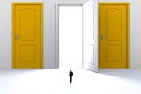 Success concept with businessman, Image of miniature businessman standing in front of open white door on white wall background, 3D rendering - 219759185
