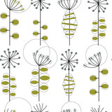 Modern vector abstract seamless geometric pattern with stylized flowers and leaves in retro scandinavian style.