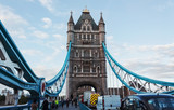 Busy traffic on Tower Bridge in London - 219765171