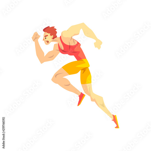 Running man, sportsman character in uniform, active sport lifestyle vector Illustration on a white background