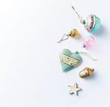 Colorful Christmas decorations on white background. Flatlay. Copy space - 219767536