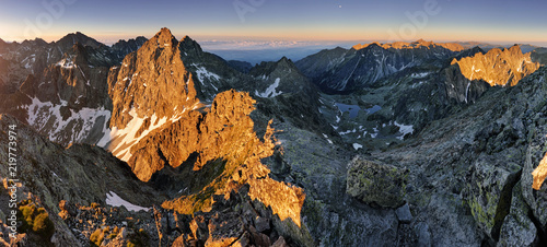 Panorama landscape of mountain at sunset, Slovakia. - 219773974