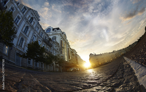 city street, sunset, old road fish eye view