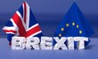 Broken text Brexit is the impending withdrawal of the United Kingdom (UK) from the European Union (EU). 3D illustration.