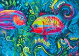 dipinto pesci belli colorati acquerello