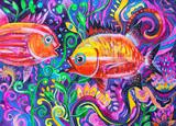 dipinto pesci acquerello
