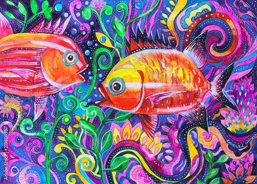 dipinto pesci acquerello © chambo4ka