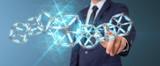 Businessman using digital blue Blockchain 3D rendering - 219807124