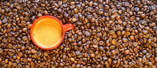 a cup of coffee on a background of coffee beans © shymar27