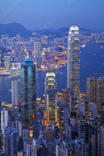 fototapeta na ścianę Hong Kong at Twilight Vertical