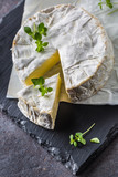 Cheese camambert from oregano herbs on slate board - 219814795