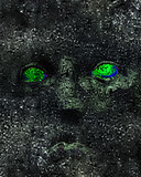 Evil Expression Eyes Over Textured Background