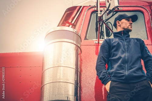 Wall mural Semi Truck Driving Job