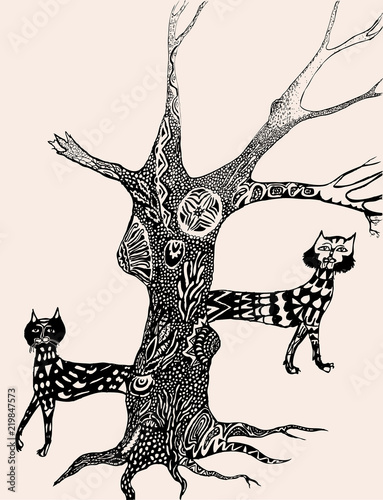 Vector image of the fabulous cats and decorative tree - 219847573
