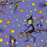 Witches fly on broomsticks on Halloween night