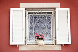 Flowers in white old window. Piran, Slovenia - 219848798