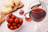 Romantic meal with a glass of red wine - 219854120