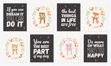 Vector collection of postcards with animals surrounded by a plant wreath with autumn slogan - 219863318