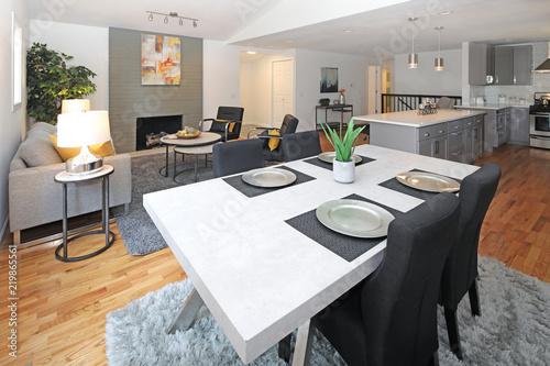 Modern interior design with open floor plan