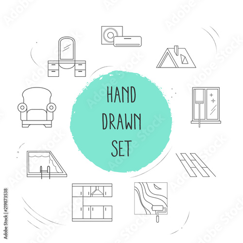 Set Of Interior Icons Line Style Symbols With Armchair Roof Air