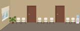 Waiting hall in a beige color. Corridor. There are white chairs, a water cooler, a big flower near the window in the picture. Vector flat illustration. - 219876194