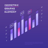 Stylish vector design of isometric graph with information presentation on purple background