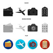 Vacation, travel, wallet, money .Rest and travel set collection icons in black, flat, monochrome style vector symbol stock illustration web.